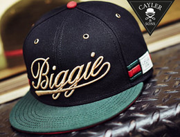 Wholesale Biggie Cayler amp Sons snapback hats balck green autumn winter Hip Hop cotton adjustable hats for men or women mix order ems dhl