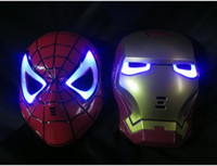 Wholesale High Quality LED luminous dark mask Iron Man Spider Man Halloween costume props novelty toy theaters worldwide favorite boy
