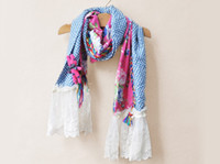 Wholesale Brand New Hot Lace Scarf Girls Cute Flower Scarves Long Neckerchief Fashion Printed Princess Scarf Kids Polka Dot Scarves