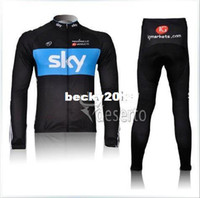 Wholesale mens sports road racing long sleeve black SKY cycle skinsuit winter Warm Fleece Thermal bike wear clothing cycling jersey pants