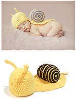 Boy Summer Crochet Hats Cute Yellow Snail Baby Costume Photo Photography Prop Toddler Knit Crochet Beanie Hat Cap 50sets EMS free CAP11