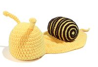 Boy Summer Crochet Hats Cute Yellow Snail Baby Costume Photo Photography Prop Toddler Knit Crochet Beanie Hat Cap 20sets EMS free CAP11
