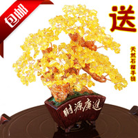 Crystal   Home gifts accessories crystal lucky tree fanghaped bonsai crafts decoration