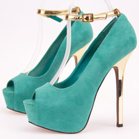 Women other other Fashion belt ladies vintage genuine leather open toe high-heeled single shoes jade green