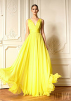 Chiffon Sleeveless Floor-Length Hot Seling Zuhair Murad Low-cut V-neck V-Back Ruched Sash Beads Yellow Chiffon Floor-Length Cheap Vintage Evening Bridesmaid Prom Dresses