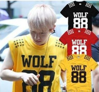Wholesale new sale fashion EXO T shirt Wolf Tshirt five star printed t shirt KPOP LUHAN KRIS exo t shirt Color cotton