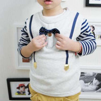 Wholesale Boys Stripe Shirts With Bow tie Winter Thick Shirt Children T Shirts Boys Kids Clothes Long Sleeve T Shirt Round Neck Shirts Child Clothing
