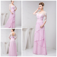 Chiffon Ruffle Sweep Train Custom Made2014 New Big Discount Sexy Strapless with Lace Jacket Pleats Tiered Sweep Train Chiffon Bridesmaid Evening Dresses CD14