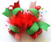 Cheap Wholesale20pcs lot 6'' Baby Girls Christmas Ribbon and Feather Hair Bows with Clip,Boutique Feather Hair Flowers Kids Toddler Hair Barrettes