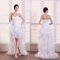 Wholesale 2013 Modern White Organza Ruffles A Line Wedding Dresses Hi lo Sleeveless Lace up Back Bridal Gowns DH4013 get free bridal accessories