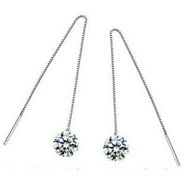 Wholesale High Quality S925 Plated Long EarWires Earrings Wire AAA Crystal Pendant For Women Freeshipping