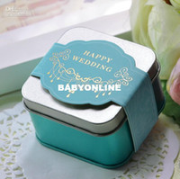 Wholesale NEW Blue Beach Candy box wedding steel drum box Wedding Bridal Favors Candy Party Boxes Favor