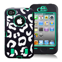 For Apple iPhone Silicone For Christmas Leopard print PC+Silicone Combo hybrid shock dirty proof protector case for Iphone 4 4S,100pcs Fedex free shipping