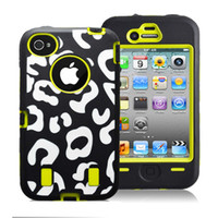 For Apple iPhone Silicone For Christmas PC+Silicone Combo hybrid shock dirty proof protector case for Iphone 4 4G 4S Leopard print design,100pcs DHL free