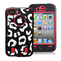 For Apple iPhone Silicone For Christmas PC+Silicone Combo hybrid Zebra Leopard print design shock dirty proof protector case for Iphone 4 4G 4S,100pcs Fedex free