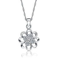 Asian & East Indian Women's Party Free shipping, ladies platinum plated 925 sterling silver flower necklace pendant with zircon, 1.4g. wedding necklace pendant with diamond.