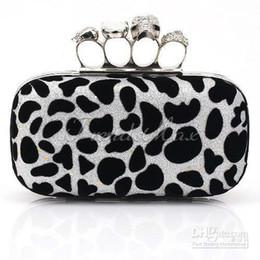 De embrague del anillo de leopardo en venta-Venta por mayor - venta caliente 2013 leopardo plata cráneo nudillo plumero envío gratis embrague Rhinestone cuatro anillo Cocktail