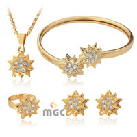 Wholesale New K Gold Plated Rhinestone Stars Costume Jewelry Sets Necklace Earrings Cuff Bangle Ring Jewellery Gift For Women MGC N1199