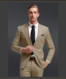 Wholesale 2013 New khaki Gentleman style Business Two Buttons Suits Jacket pants vest tie Groom Tuxedos Groomsmen Men s Wedding suits