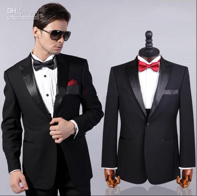 One Buttons Black Groom Tuxedos Best Man Peak Satin Shiny Lapel ...