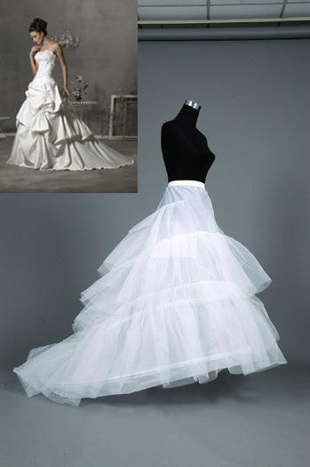Plus size 2 hoops train wedding gown crinoline petticoat for Plus size wedding dress petticoat
