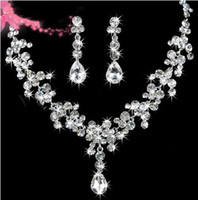 Wholesale STOCK High Quality Crystals Two Pieces Earrings Necklace Rhinestone Wedding Bridal Sets Jewelry Set Jewerly