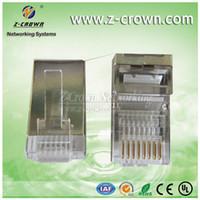 Wholesale HOT U RJ connector shielded Ethernet cable plug CAT6 RJ45 plug FTP P8C Connector RJ45 modular plug free shippping