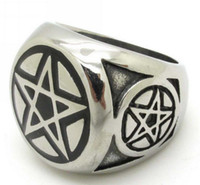 mens rings - Top Quanlity New Style Mens Biker ET Alien Pentagram Ring L Stainless Steel miraculous outer space character Charm Rings