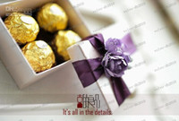 Wholesale LLFA2817 Brief style cute wedding candy boxes beautiful valentines gift package with purple flowers