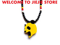 Wholesale 20 GOODWOOD nyc yellow panda pendant good wood HIP HOP panda men pendant hiphop woode necklace good wood chant