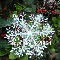 Wholesale 180pcs White Plastic Christmas Snowflake Sheet Ornament Merry Xmas Tree House Decoration With Shining cm FL0137