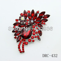 Wholesale fashion New Design Big size rhinestone dark red brooch DRC Minimum order is USD mixed order