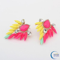 Wholesale STOCK Mixed Colors High Quality Alloy Gem Leaf Earring Retro Fashion Gorgeous Fluorescent Gemstone Stud Earrings pairs S ES006