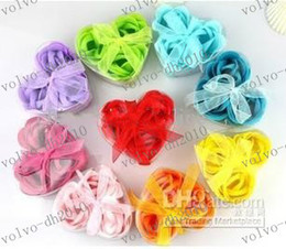 Wholesale LLFA2824 washing cleaning bath rose Flower paper petals soap gift organtic wedding favor mulit box pc box