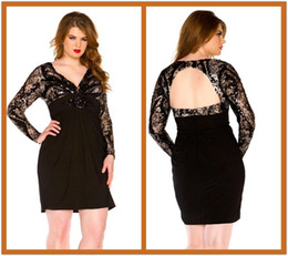 Wholesale Custom Alluring Plus Size Dress Empire Waist Sexy Deep V Neck Cut Out Back Black Lace Plus Size Party Dress Long Sleeve Cocktail Dress