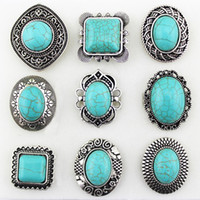 Wholesale Vintage Single Turquoise Antique Silver Rings Adjustable Sizes Mixed Styles VR