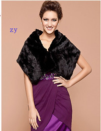 Wholesale Fall Winter New Arrival Elegant Faux Fur Wedding Special Occasion Shawl Black Fur Bridal Wraps Jackets