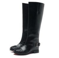 al por mayor botas altas de cuero genuino de la rodilla-El nuevo diseñador de 2016 mujeres negro verdadero atractivo del invierno de cuero hasta la rodilla botas de moto de invierno aumentó la marca de moda botas de cuña 35-41
