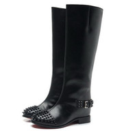 Wholesale New women designer black genuine leather knee high winter motorcycle boots brand fashion sexy winter increased wedge boots
