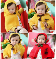 Pashmina baby hat scarf gloves set - New Style Winter Cloak Gloves Earmuffs Three Piece Knitted Hat Scarf Set For Baby L319
