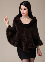 Wholesale 2013 special knit mink fur fashion cloak unlined upper garment dress cape fur shawls scarf