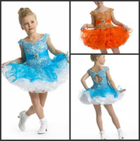 Reference Images baby custom shapes - Girls Kids Baby Pageant Dresses Skirts Short Cupcake Shape Portrait Beaded Ruffles Custom Make Blue Orange Colors