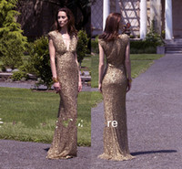 2014 New fashion sequin gowns v neck cap sleeves gold long d...