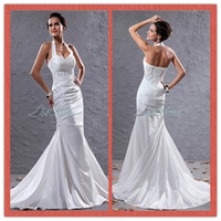 Reference Images aw white - New White Mermaid Wedding Dresses Halter Court Train Fishtail Bridal Gowns Appliques Sequins Dress AW