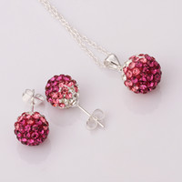 Wholesale New shamballa rose Gradient Disco Ball Crystal Beads Necklace amp Earrings MM amp MM Silver Jewelry set