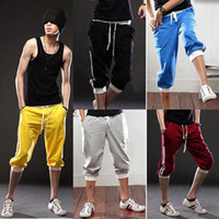 Wholesale kevinstyle Men s Fashion Casual Sport Short Dancing Harem Loose Pants Cropped Trousers R36