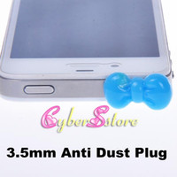 Wholesale Cute Bowknot mm Headset Earphone Jack Ear Cap Dustproof For Iphone amp Ipad amp Samsung amp HTC Cellphone