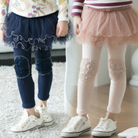 Wholesale Childrens Skirt Leggings Kids Trouser Skinny Pants Girls Lace Tights Child Clothes Long Trousers Fashion Princess Leggings Children Clothing