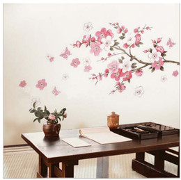 Discount wall decal cherry blossom PINK CHERRY BLOSSOM TREE Wall Stickers Flowers Decals