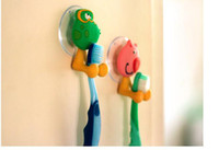 Wholesale good quality cute Cartoon animal sucker toothbrush holder suction hooks EMS FREE TO AUS